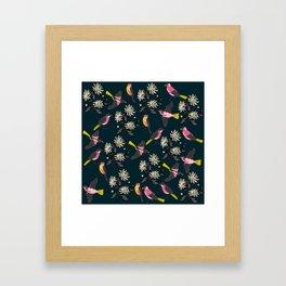 Pink Birds and Flowers Framed Art Print