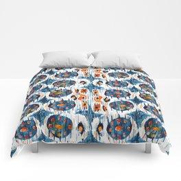 blue circle balinese ikat print mini Comforters