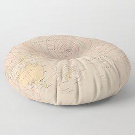 Vintage Hawaii Seismic Tsunami Wave Map (1947) Floor Pillow