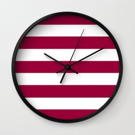 Pink raspberry -  solid color - white stripes pattern Wall Clock