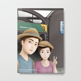 Backpack Sir Sir & Fern take a photo of Selfie at MRT Beimen Station Metal Print