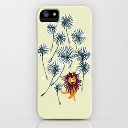 Lion on dandelion iPhone Case