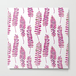 Watercolour Fern Pattern | Pink and Gold Metal Print
