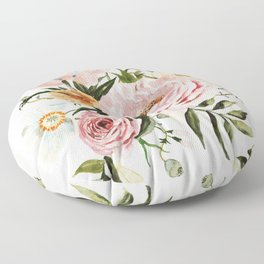 Loose Peonies & Poppies Floral Bouquet Floor Pillow