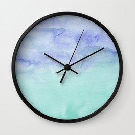 Watercolor Duo Aqua Purple Wall Clock