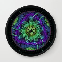 Blue and Green Pandoran Snap Lotus Fractal Flower Wall Clock