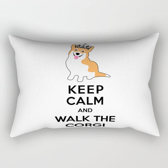 Keep Calm and Walk the Corgi Rectangular Pillow