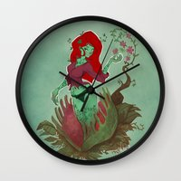 poison ivy Wall Clocks featuring Poison Ivy by Tyler Lederer