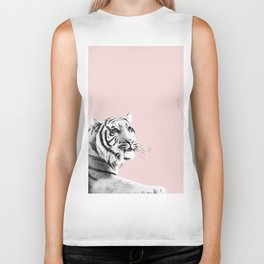 Tiger Black & White on Blush #1 #decor #art #society6 Biker Tank