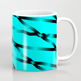 Slanting black lines and rhombuses on light blue with intersection of glare. Coffee Mug