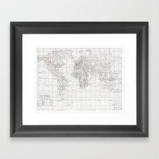 World Map ~ White on White Framed Art Print