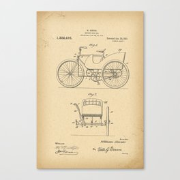1918 Patent Bicycle side car Canvas Print