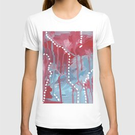 Red and blue abstraction T-shirt