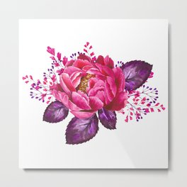 Bouquet, Rose, Bud, Berry, Leaf, Shabby, Cottage, Chick, Design, Original, Unique Metal Print