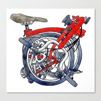 brompton Canvas Prints featuring Brompton Folded Red by Diana Powell