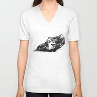 cafe racer V-neck T-shirts featuring RACER 19 by Ernie Young