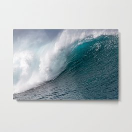 Giant Blue Ocean Wave Metal Print