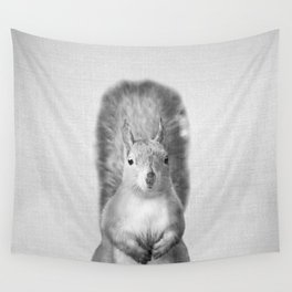 Squirrel - Black & White Wall Tapestry