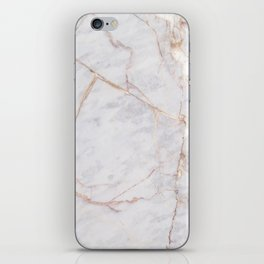 White Italian Marble & Gold iPhone Skin