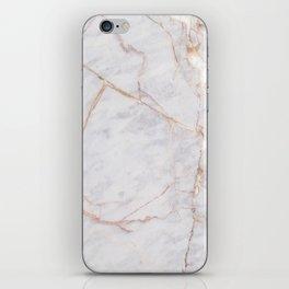 White Italian Marble & Gold iPhone Skin