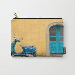 Travel photography in Italy, old street with a blue motorcycle Carry-All Pouch