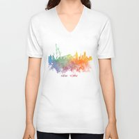new york skyline V-neck T-shirts featuring Colored skyline New York by jbjart