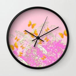 GOLDEN BUTTERFLIES IN PINK LACE GARDEN Wall Clock