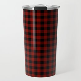 Vintage New England Shaker Barn Red Buffalo Check Plaid Travel Mug