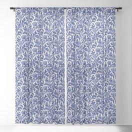 William Morris Thistle Damask, Cobalt Blue & White Sheer Curtain