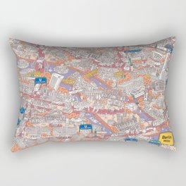 Illustrated map of Berlin-Mitte. Red Rectangular Pillow