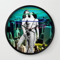 sex and the city Wall Clocks featuring Sex in the City by Collage Calamity