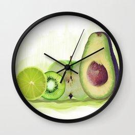 Fresh Green fruits watercolor painting Wall Clock