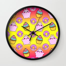 Cute funny Kawaii chibi little playful baby bunnies, happy sweet donuts and adorable colorful yummy cupcakes sunny bright yellow and raspberry pink seamless pattern design. Wall Clock