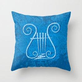 Blue Lyre Throw Pillow
