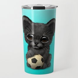 Black Panther Cub With Football Soccer Ball Travel Mug