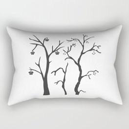 Silhouette of a rowan tree with berries Rectangular Pillow