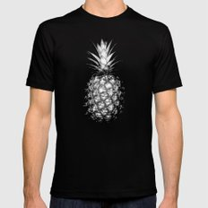 Black & White Pineapple LARGE Black Mens Fitted Tee