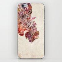 copenhagen iPhone & iPod Skins featuring Copenhagen by MapMapMaps.Watercolors
