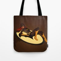 batgirl Tote Bags featuring Batgirl by Sabrina Miramon