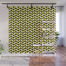 Geometric Pattern 255 (yellow black white curves) Wall Mural