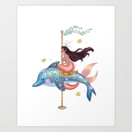 Mermaid Carousel - The Dolphin Art Print