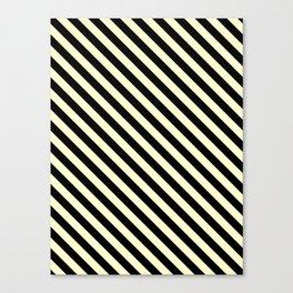 Cream Yellow and Black Diagonal LTR Stripes Canvas Print