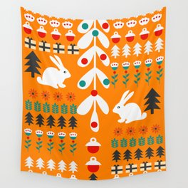 Sweet Christmas bunnies Wall Tapestry