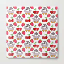 Cute funny sweet adorable happy baby penguins, little cherries and red ripe summer strawberries cartoon fantasy brightwhite pattern design Metal Print
