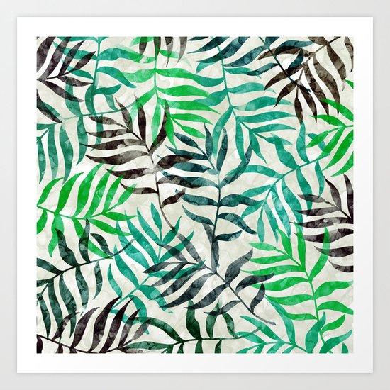 Watercolor Tropical Palm Leaves II Art Print