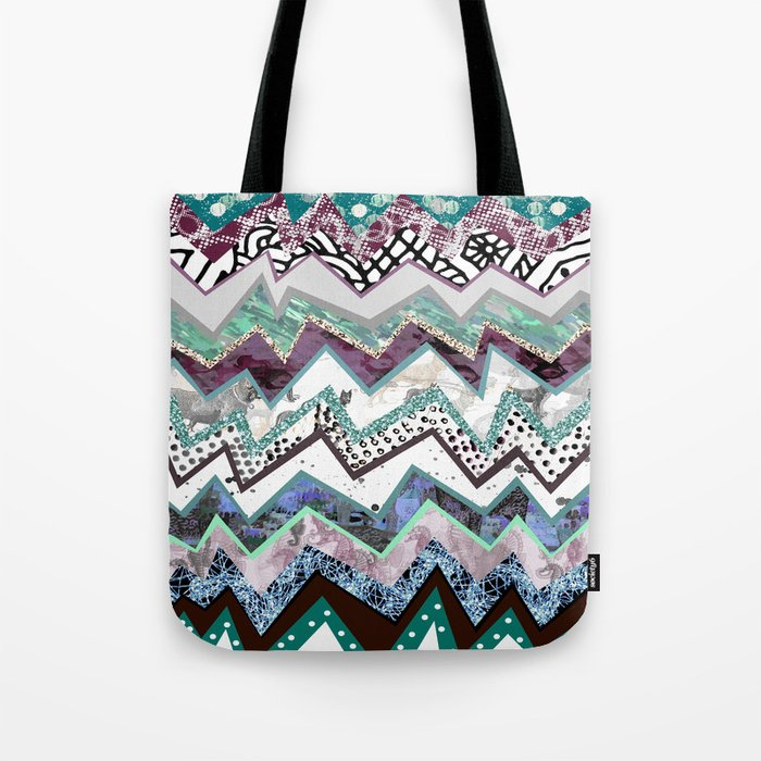 Cool Blues Zigzags Abstract Tote Bag