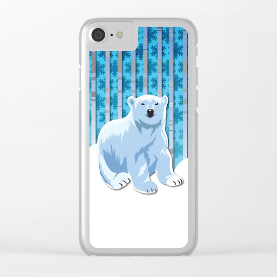 Lonely Canadian Polar Bear Clear iPhone Case