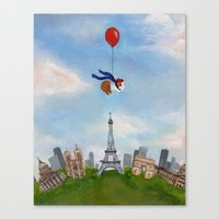 guinea pig Canvas Prints featuring Guinea Pig Over Paris by When Guinea Pigs Fly