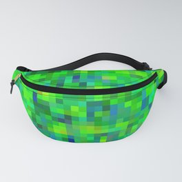 geometric square pixel pattern abstract in green and blue Fanny Pack