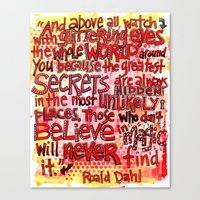 roald dahl Canvas Prints featuring Roald Dahl Magic by From Victory Road
